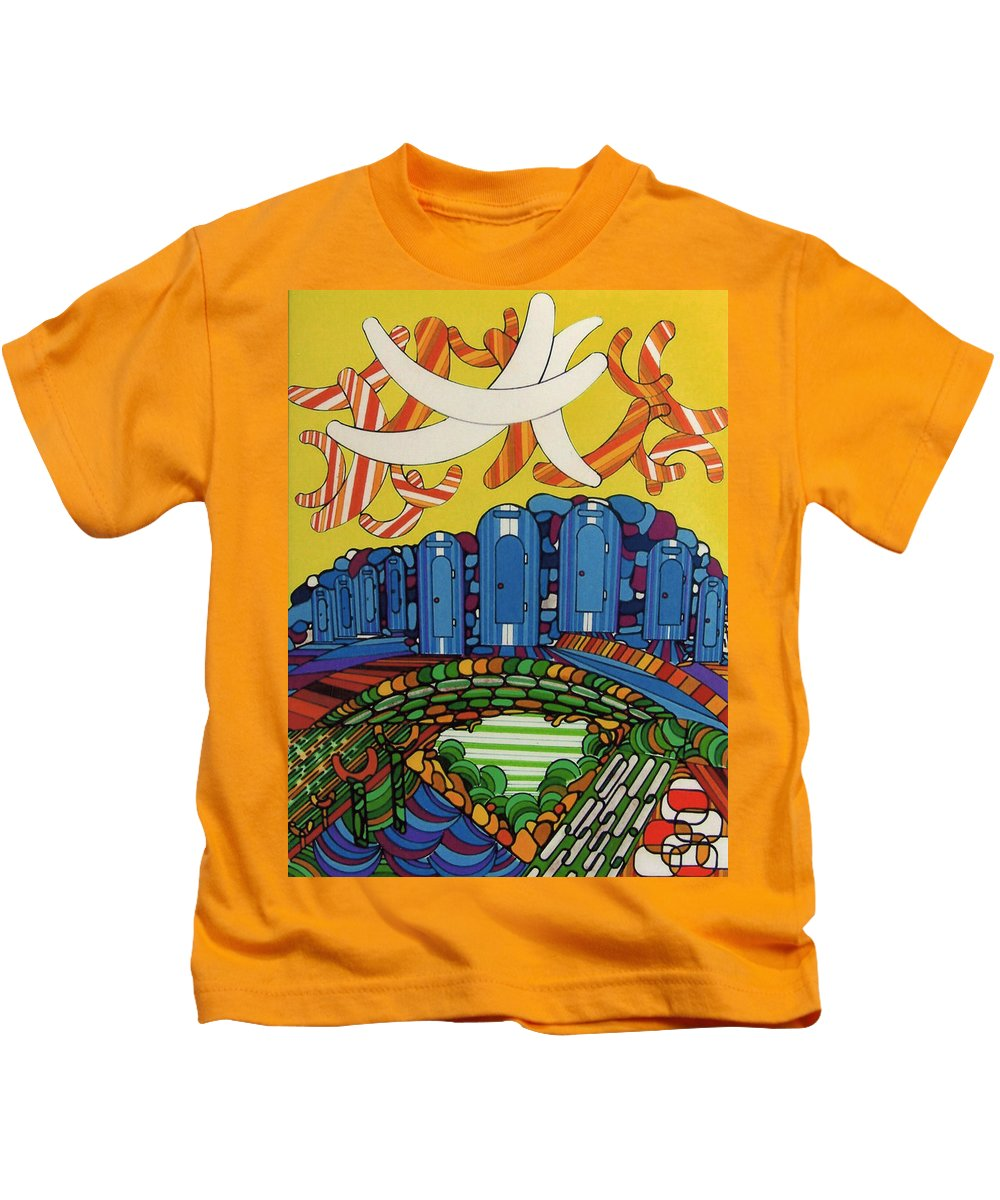 Boomerang Kids T-Shirt featuring the drawing Rfb0526 by Robert F Battles