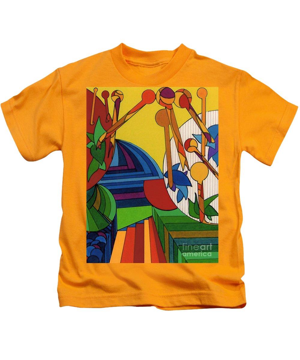 Junglescape Kids T-Shirt featuring the drawing Rfb0532 by Robert F Battles