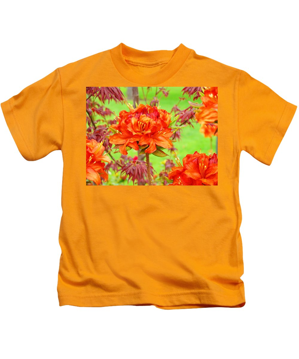 Rhodie Kids T-Shirt featuring the photograph Rhododendron Flower Landscape Art Prints Floral Baslee Troutman by Baslee Troutman
