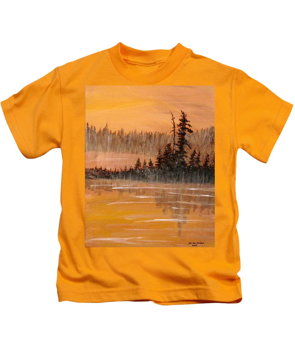 Northern Ontario Kids T-Shirt featuring the painting Rock Lake Morning 3 by Ian MacDonald