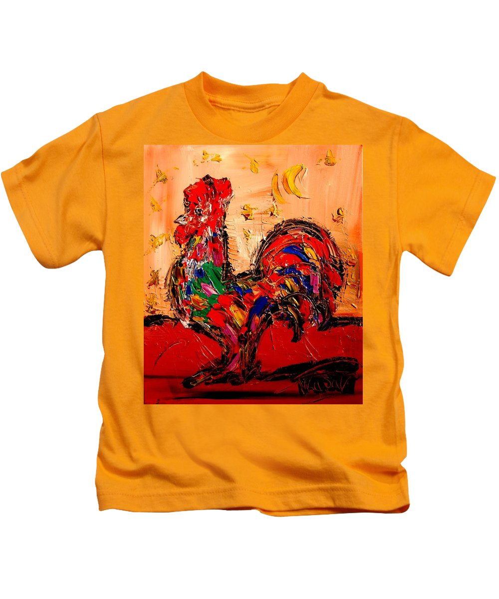 Red Poppies Kids T-Shirt featuring the painting Rooster by Mark Kazav