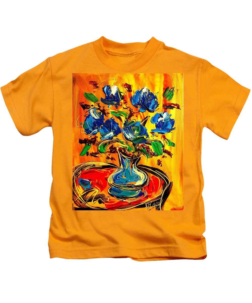 New York Kids T-Shirt featuring the painting Roses by Mark Kazav