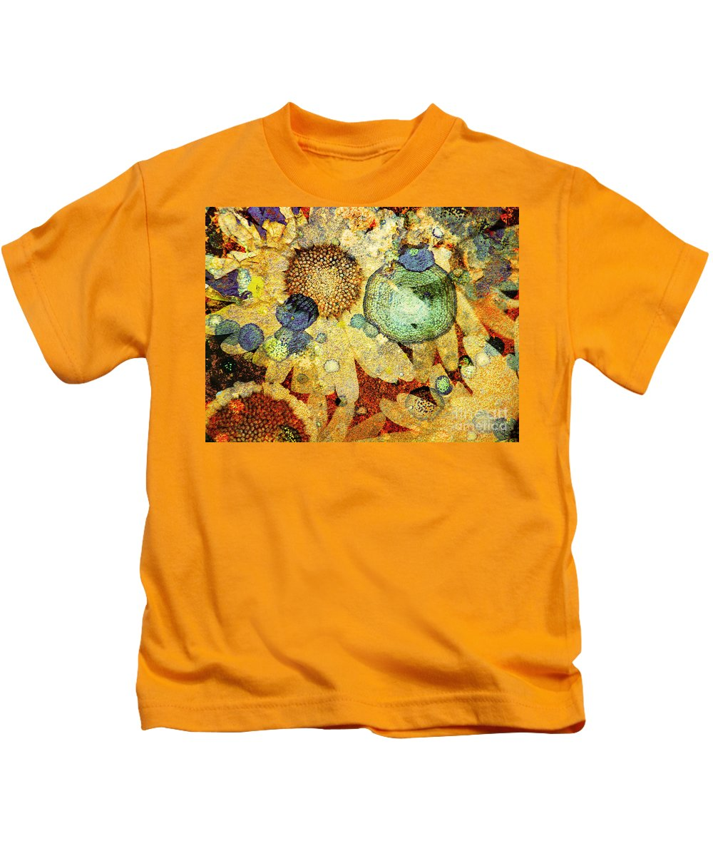 Texture Kids T-Shirt featuring the photograph Rust And Flowers by Tara Turner