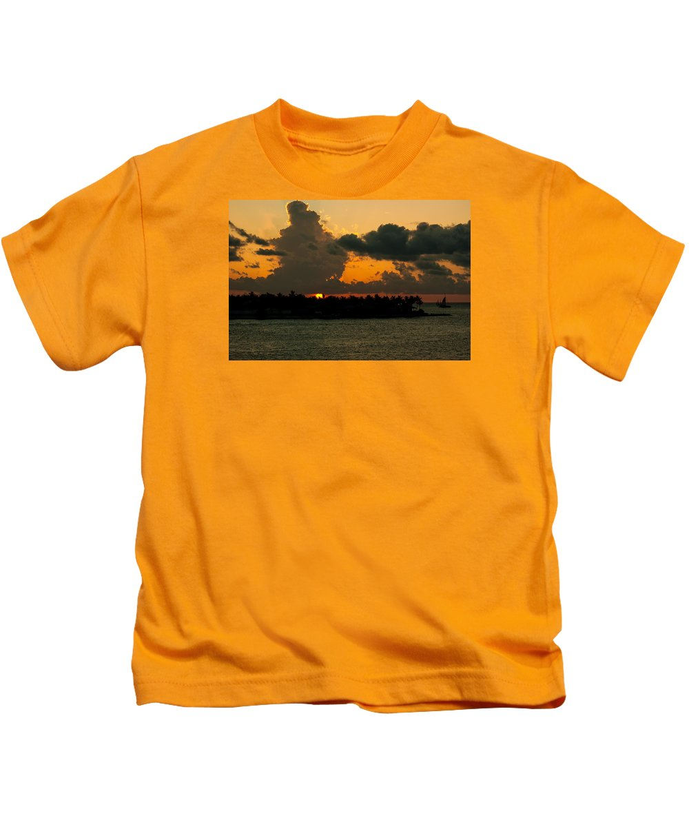 Sunset Kids T-Shirt featuring the photograph Sailing The Keys At Sunset by Maria Keady