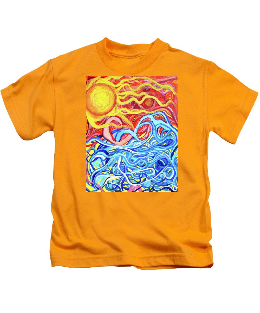 Abstract. Sun Kids T-Shirt featuring the painting Sailor's Warning by Larry Calabrese