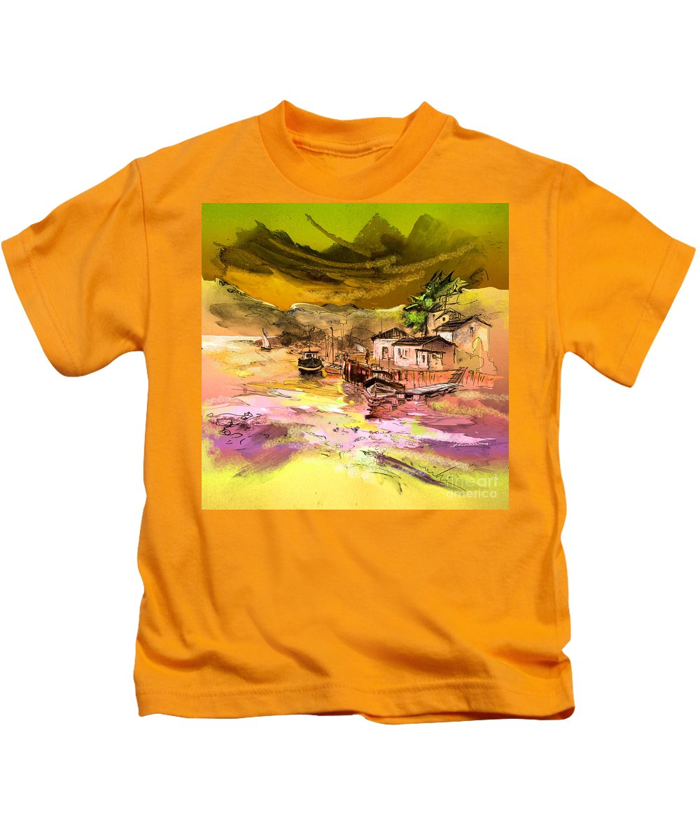 Scotland Paintings Kids T-Shirt featuring the painting Scotland 14 by Miki De Goodaboom