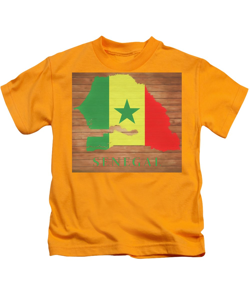 Senegal Rustic Map On Wood Kids T-Shirt featuring the mixed media Senegal Rustic Map On Wood by Dan Sproul