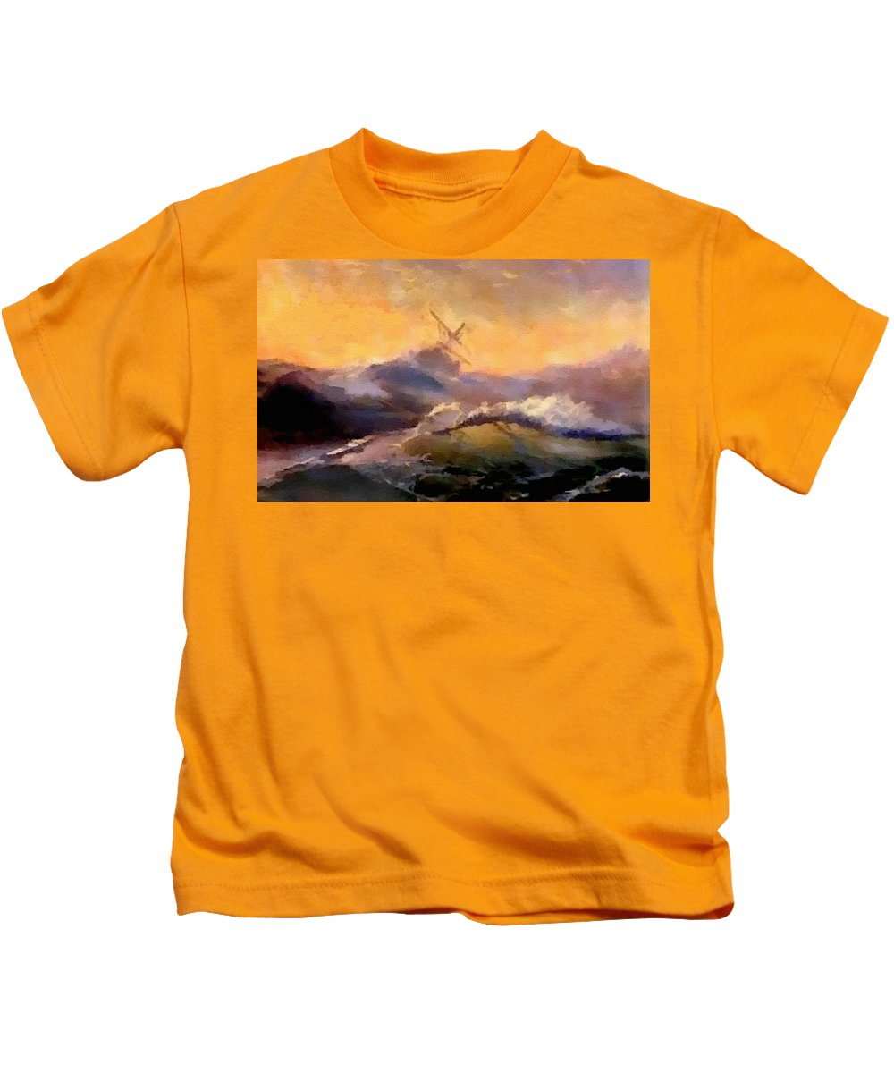 Announcement Kids T-Shirt featuring the painting Ship In Trouble H B by Gert J Rheeders