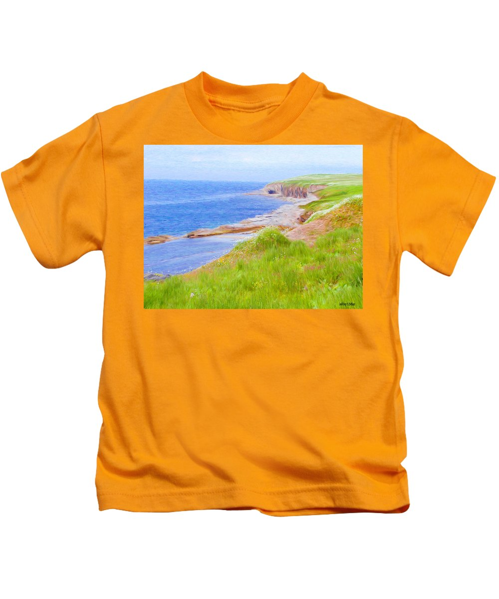 Canadian Kids T-Shirt featuring the painting Shores Of Newfoundland by Jeffrey Kolker