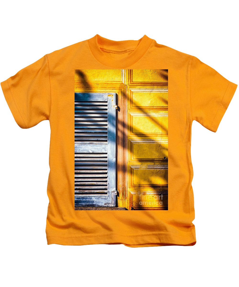 Abstract Kids T-Shirt featuring the photograph Shutter And Ornate Wall by Silvia Ganora