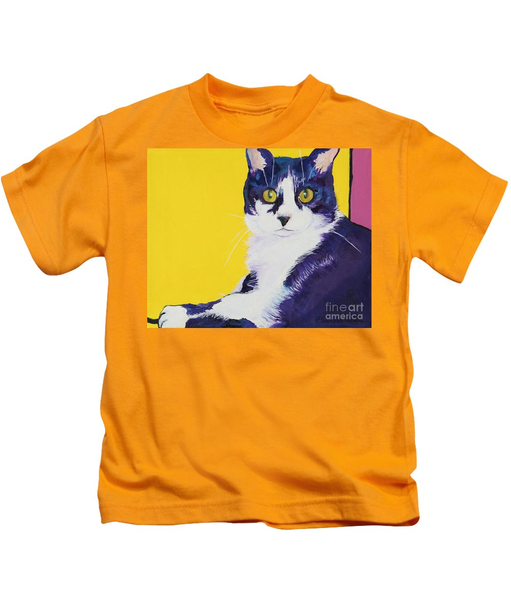 Tuxedo Cat Kids T-Shirt featuring the painting Simon by Pat Saunders-White