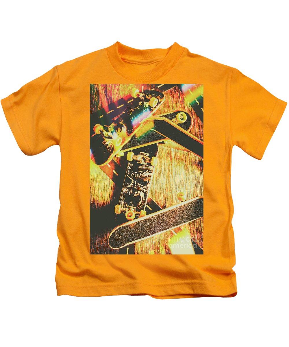 Skateboard Kids T-Shirt featuring the photograph Skateboarding Tricks And Flips by Jorgo Photography - Wall Art Gallery