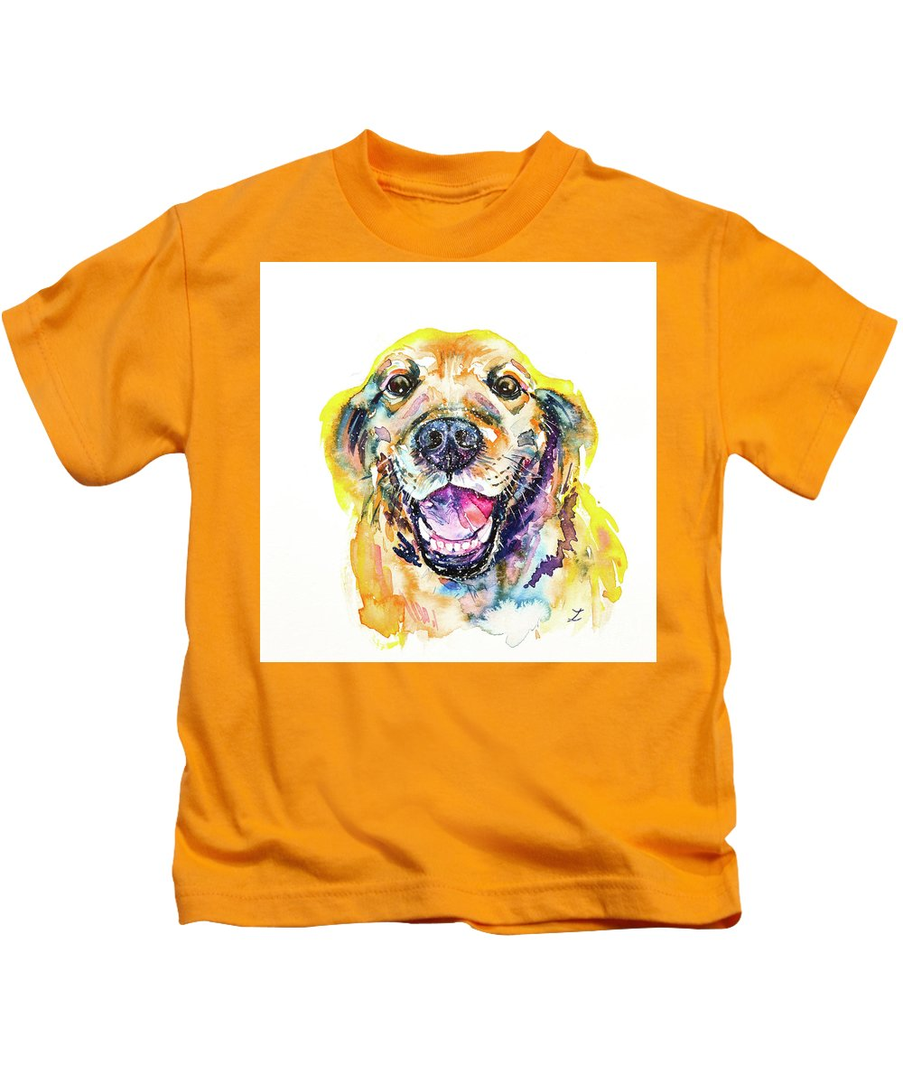 Golden Retriever Kids T-Shirt featuring the painting Smile by Zaira Dzhaubaeva