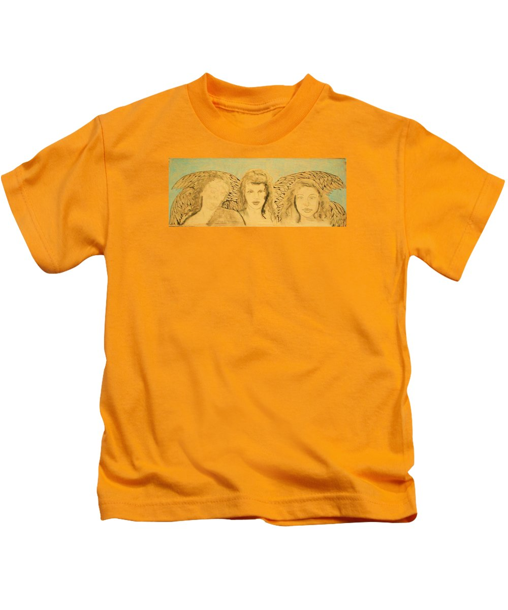 Angels Kids T-Shirt featuring the drawing Song Of The Sisters Unfinished by J Bauer