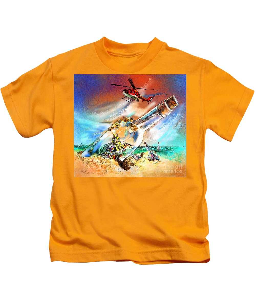 Turtles Kids T-Shirt featuring the painting Sos To The World by Miki De Goodaboom