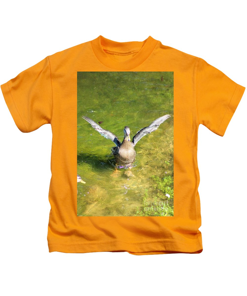 Duck Kids T-Shirt featuring the photograph Spread Your Wings by Mesa Teresita