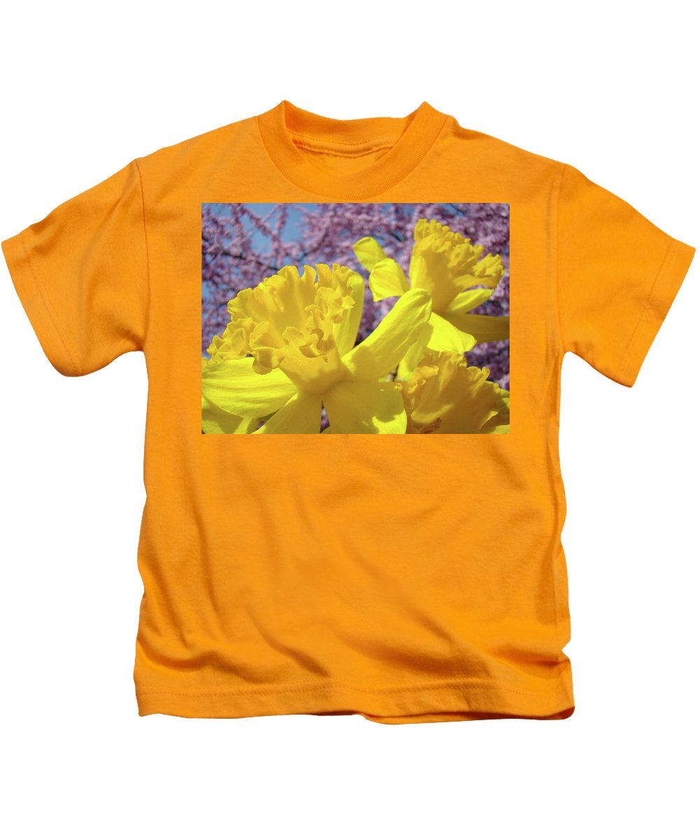 Flowers Kids T-Shirt featuring the photograph Spring Art Prints Yellow Daffodils Flowers Pink Blossoms Baslee Troutman by Baslee Troutman