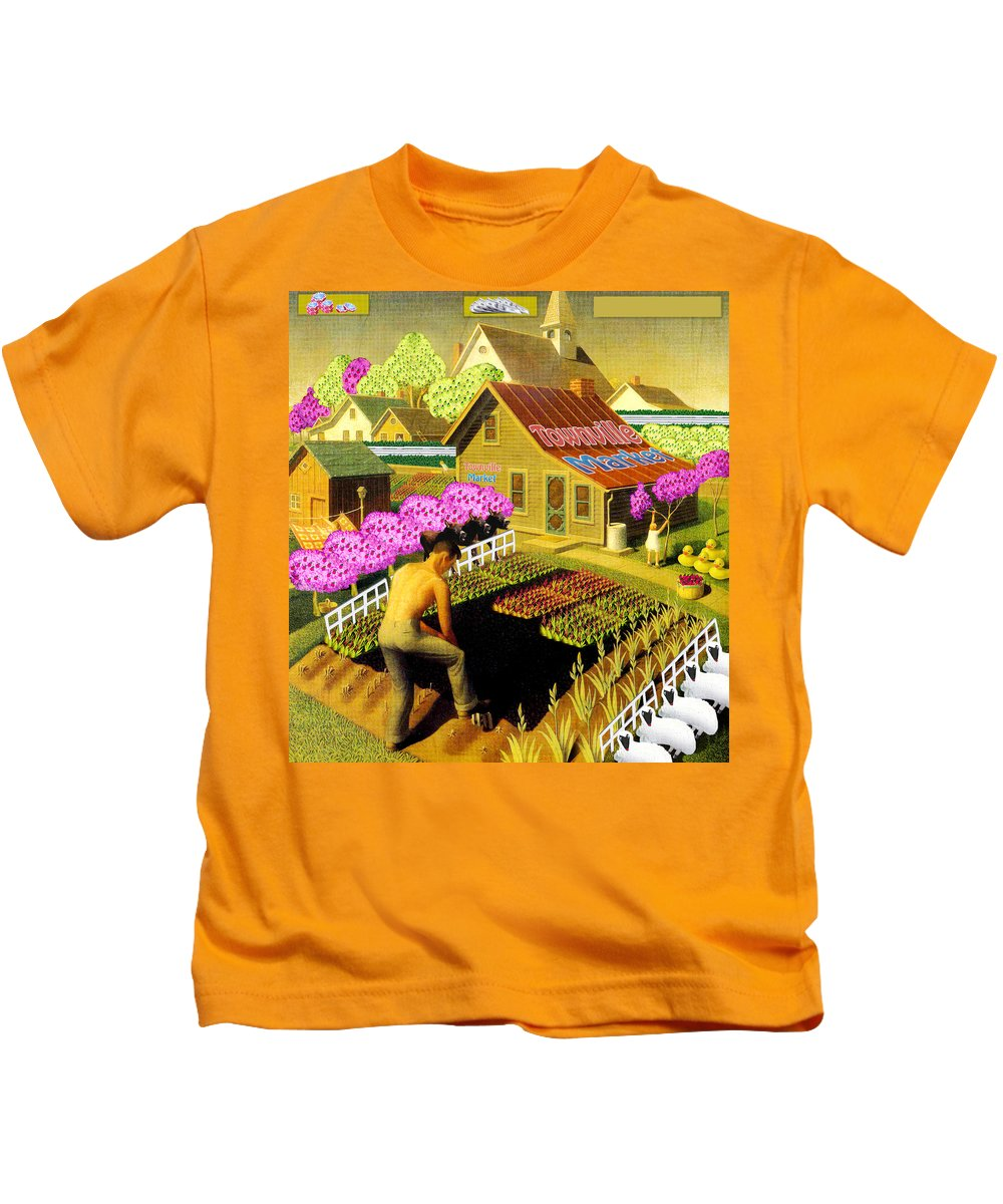 Farming Kids T-Shirt featuring the painting Spring In Townville by Gravityx9 Designs
