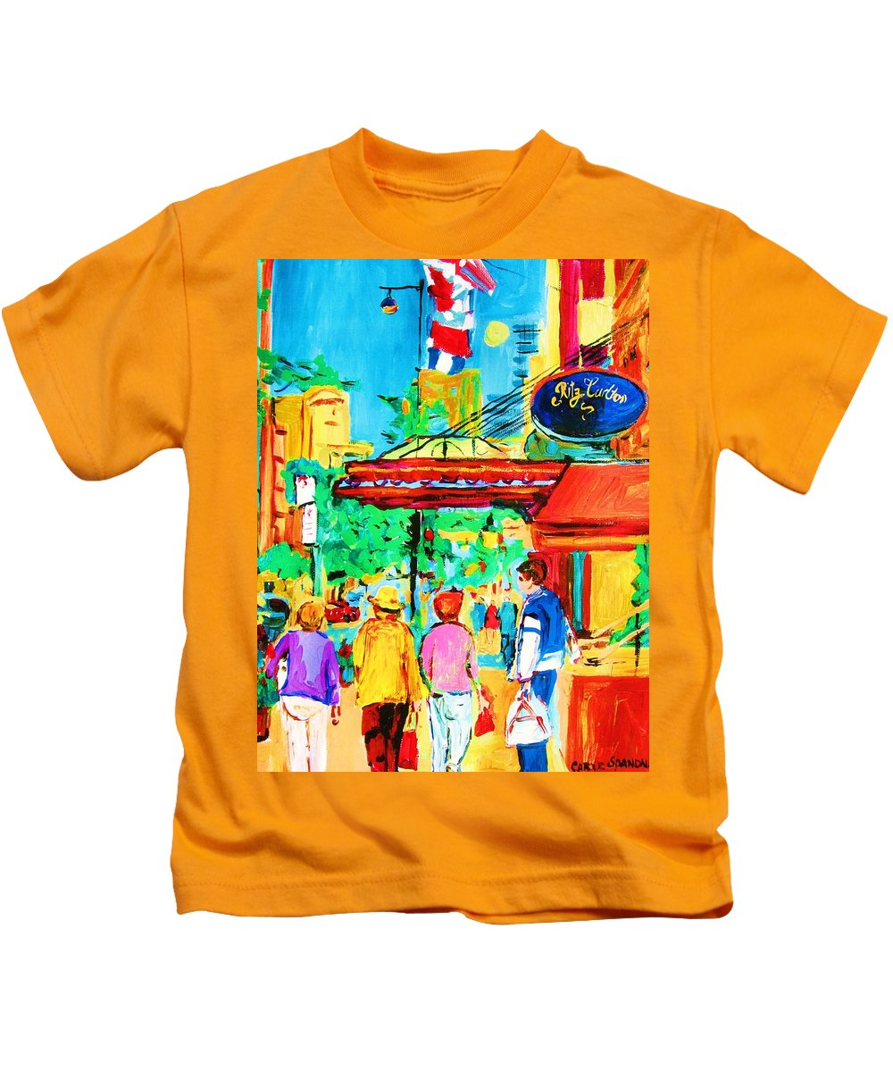 Paintings Of The Ritz Carlton On Sherbrooke Street Montreal Art Kids T-Shirt featuring the painting Springtime Stroll by Carole Spandau