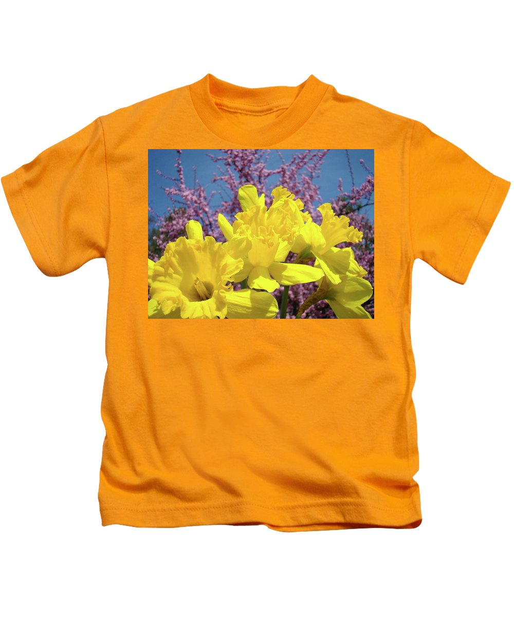 Nature Kids T-Shirt featuring the photograph Springtime Yellow Daffodils Art Print Pink Blossoms Blue Sky Baslee Troutman by Baslee Troutman
