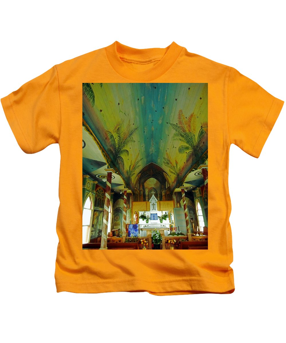 Kailua-kona Kids T-Shirt featuring the photograph St Benedicts Painted Church 6 by Ron Kandt