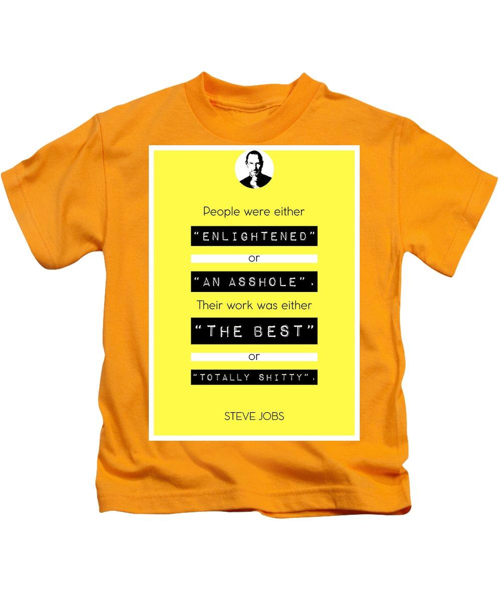 Steve Jobs Kids T-Shirt featuring the digital art Steve Jobs Quote by BONB Creative