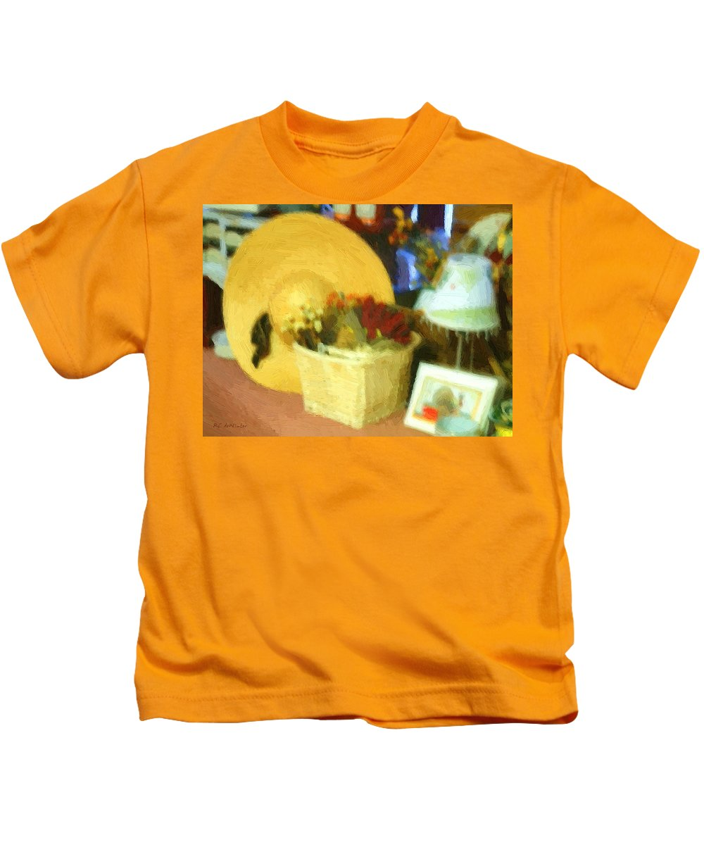 Basket Kids T-Shirt featuring the digital art Still Life With Straw Hat by RC DeWinter