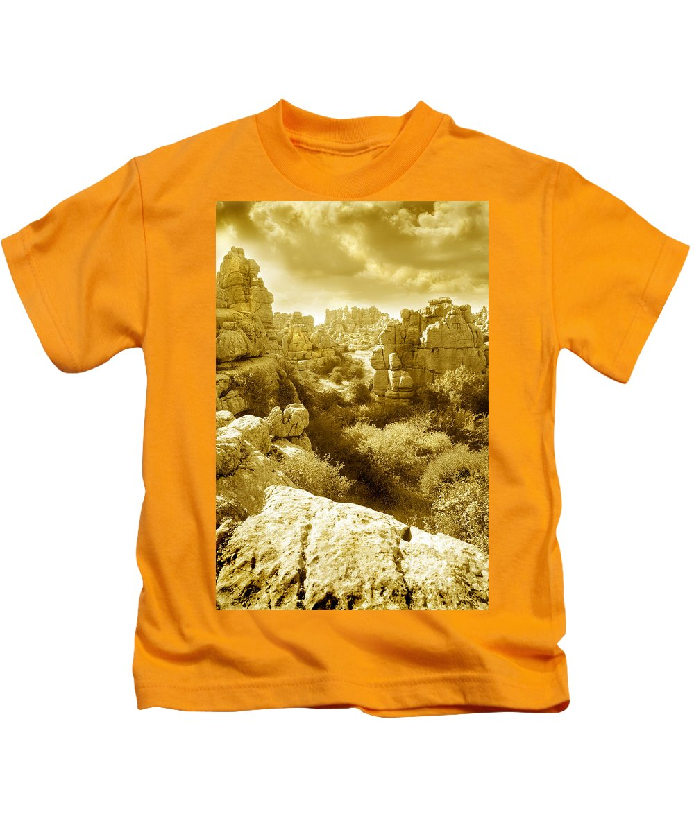 Rock Kids T-Shirt featuring the photograph Strange Rock Formations At El Torcal Near Antequera Spain by Mal Bray