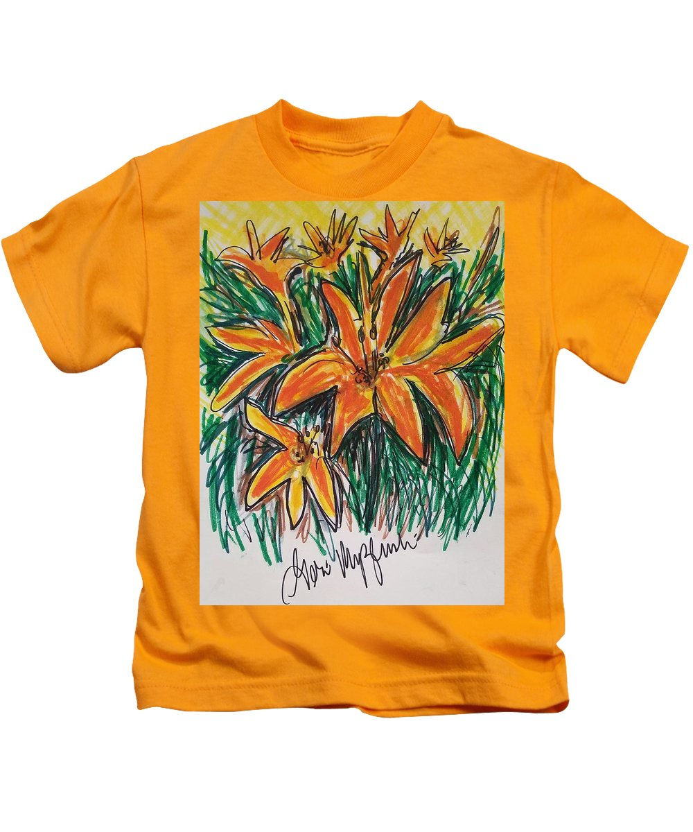 Flowers Kids T-Shirt featuring the painting Summer Flowers by Geraldine Myszenski