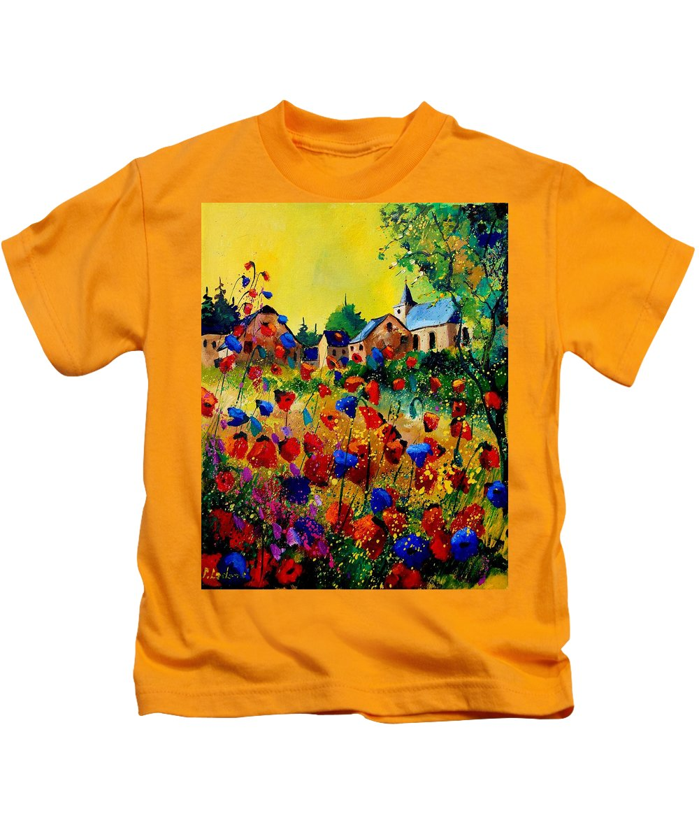 Poppy Kids T-Shirt featuring the painting Summer In Sosoye by Pol Ledent
