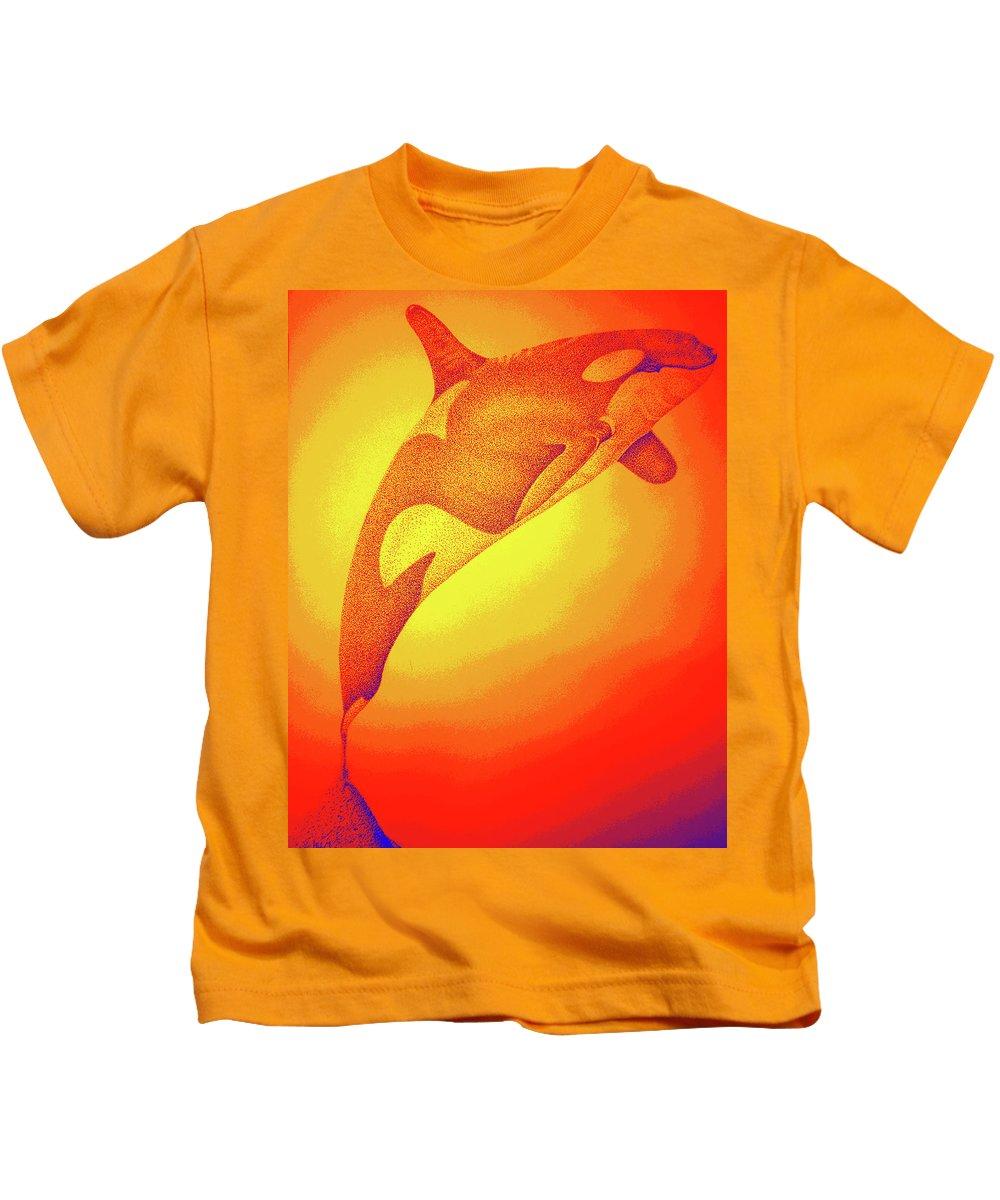 Whale Digital Art Kids T-Shirt featuring the digital art Sunburst Orca by Mayhem Mediums