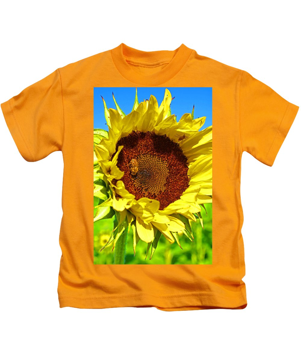 Pastoral Kids T-Shirt featuring the photograph Sunflower And Bee by Heather Coen