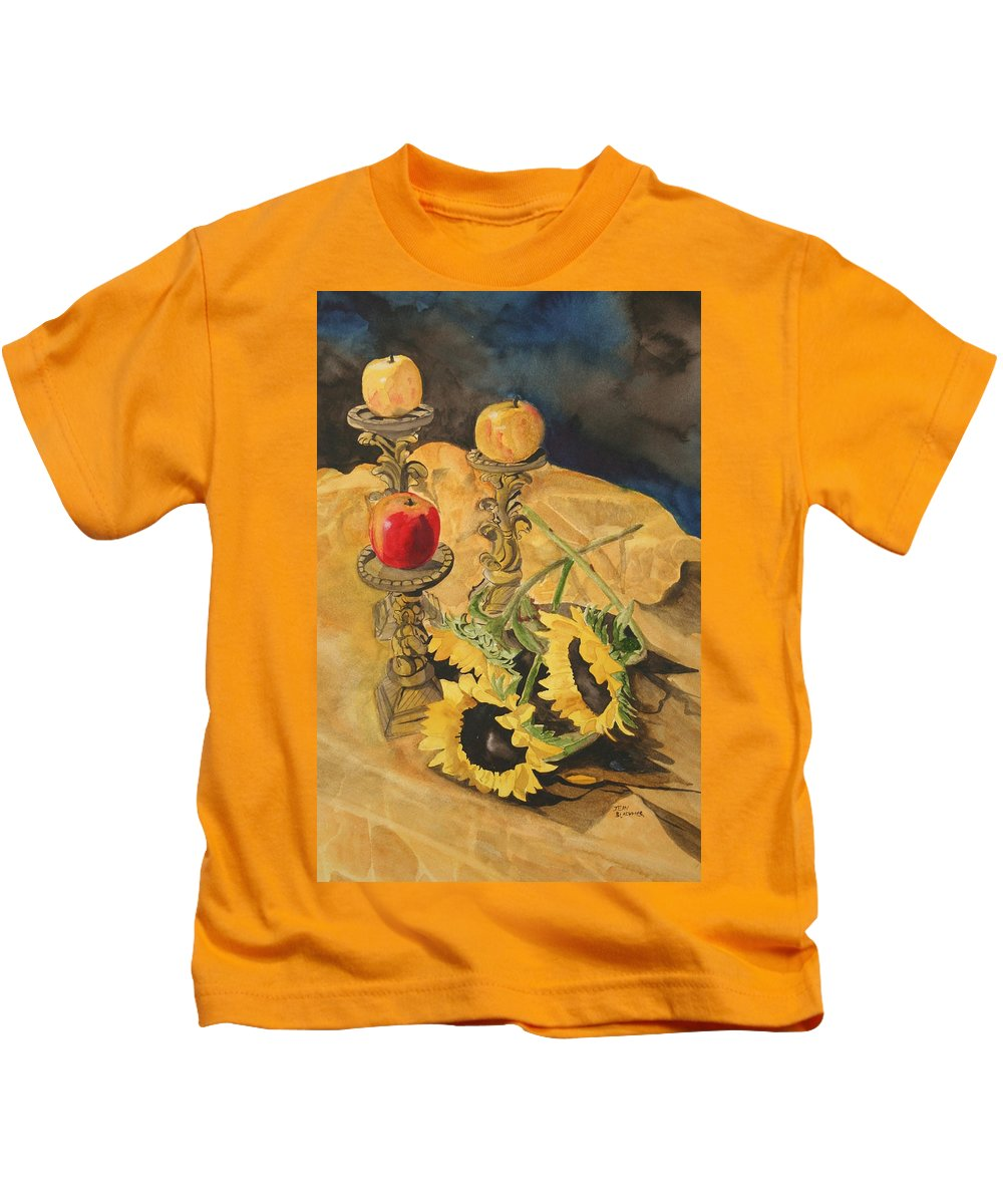 Still Life Kids T-Shirt featuring the painting Sunflowers And Apples by Jean Blackmer