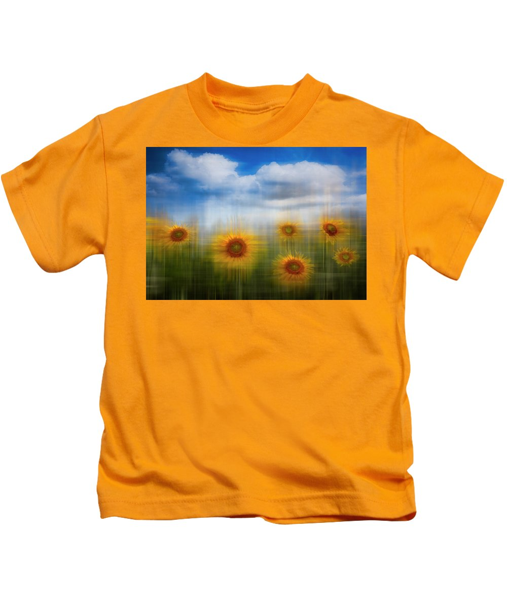 Clouds Kids T-Shirt featuring the photograph Sunflowers Dreamscape by Debra and Dave Vanderlaan