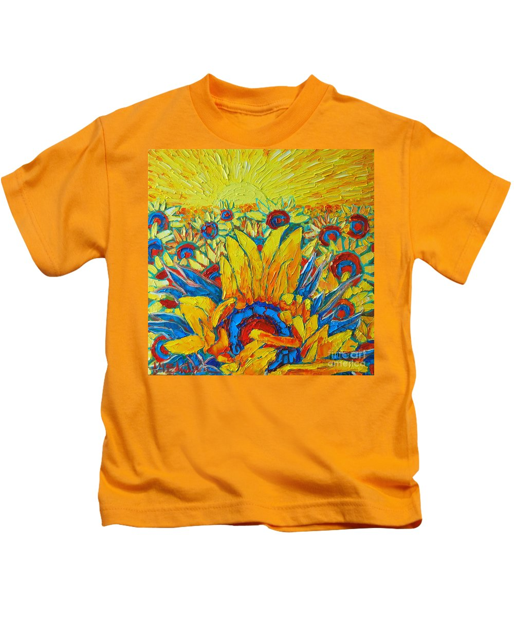 Sunflowers Kids T-Shirt featuring the painting Sunflowers Field In Sunrise Light by Ana Maria Edulescu