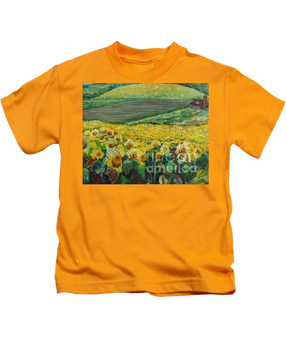 A Field Of Yellow Sunflowers Kids T-Shirt featuring the painting Sunflowers In Provence by Nadine Rippelmeyer