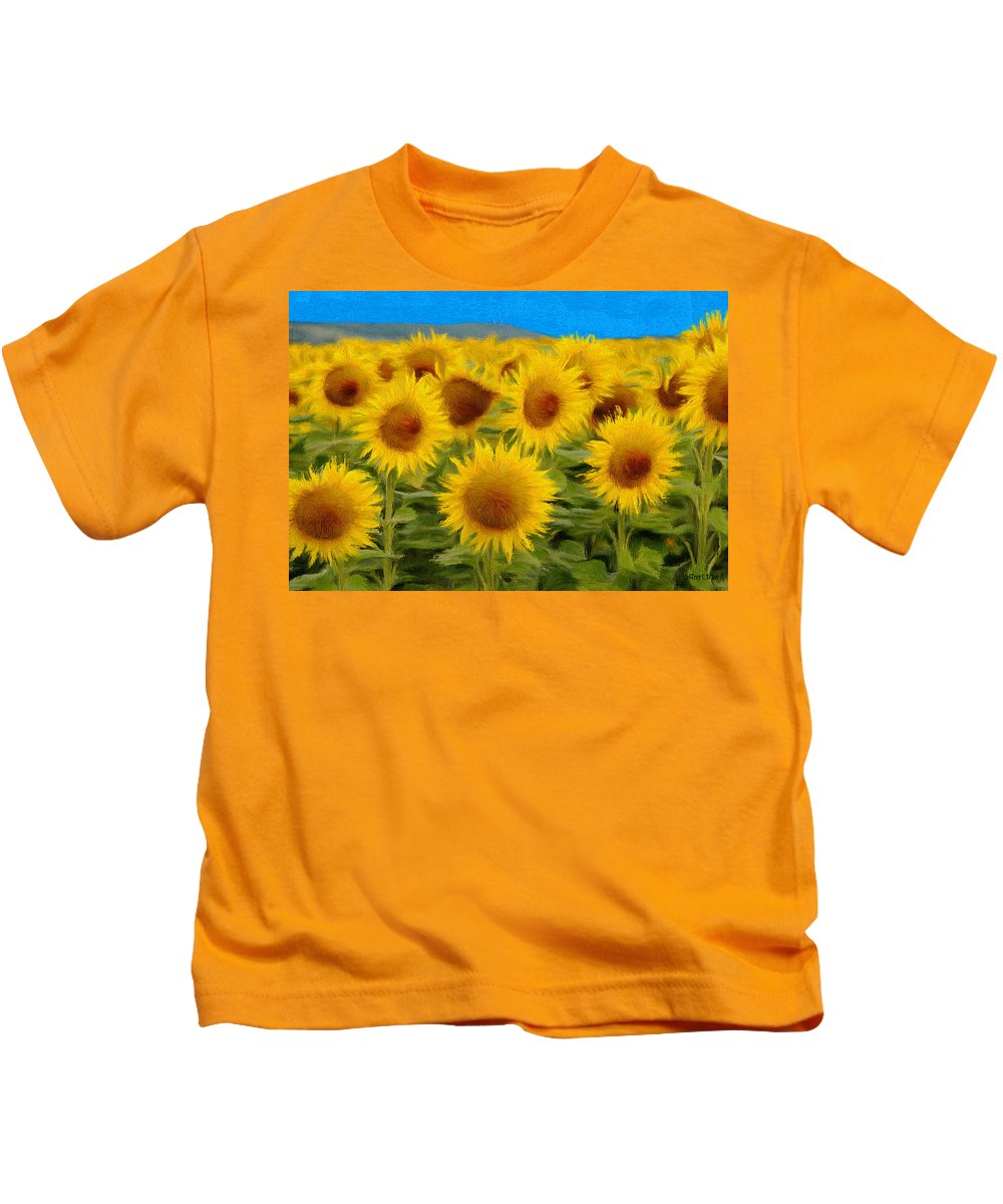 Sunflower Kids T-Shirt featuring the painting Sunflowers In The Field by Jeffrey Kolker