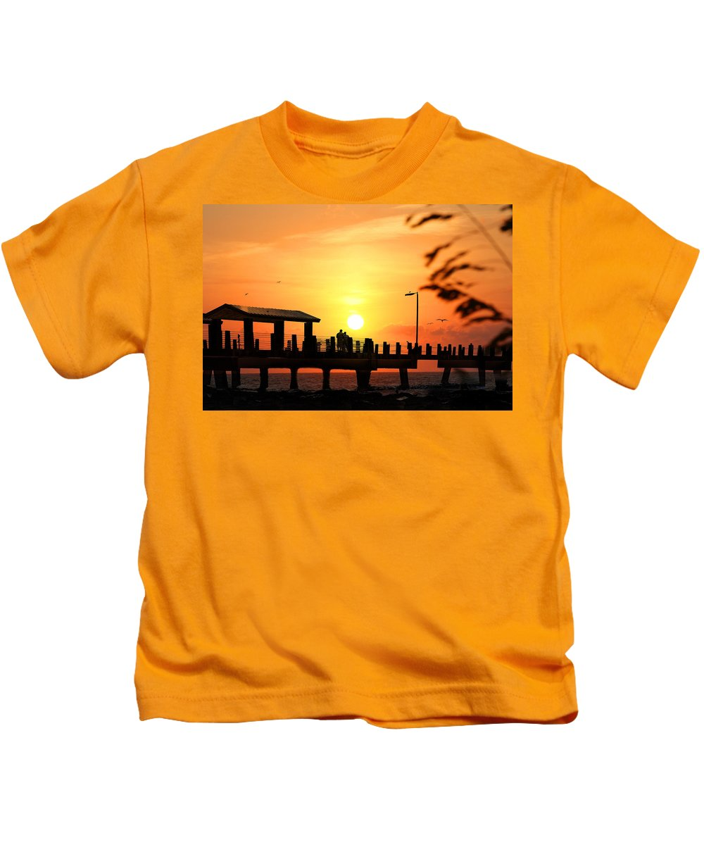 Fort De Soto Kids T-Shirt featuring the photograph Sunset At Fort De Soto Fishing Pier Pinellas County Park St. Petersburg Florida by Mal Bray