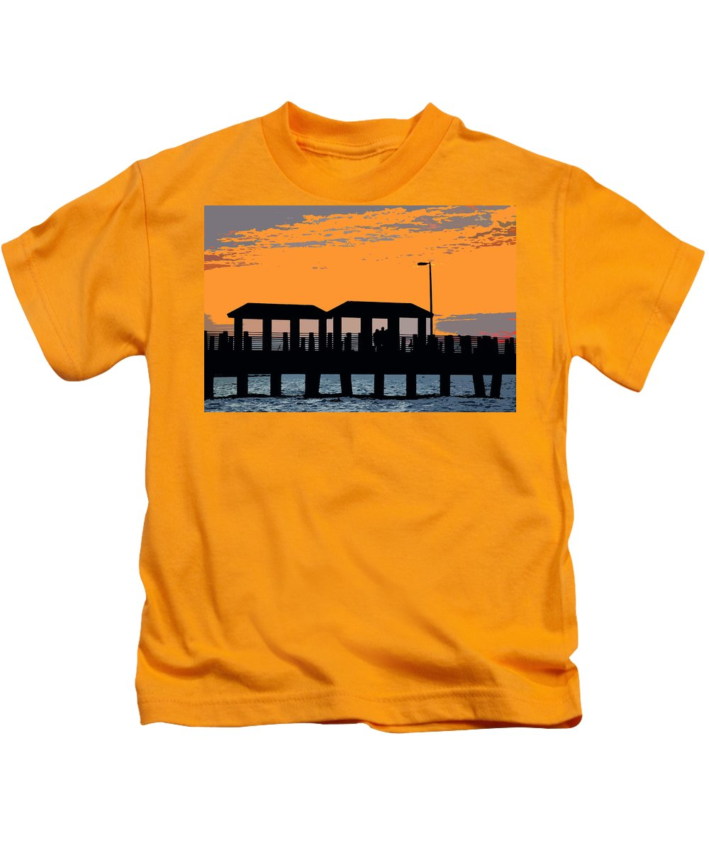 Art Kids T-Shirt featuring the painting Sunset At The Fishing Pier by David Lee Thompson