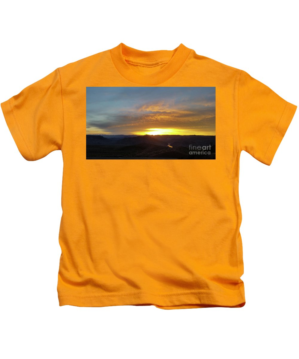 Black Canyon Kids T-Shirt featuring the photograph Sunset Over Black Canyon And River #1 by Heather Kirk