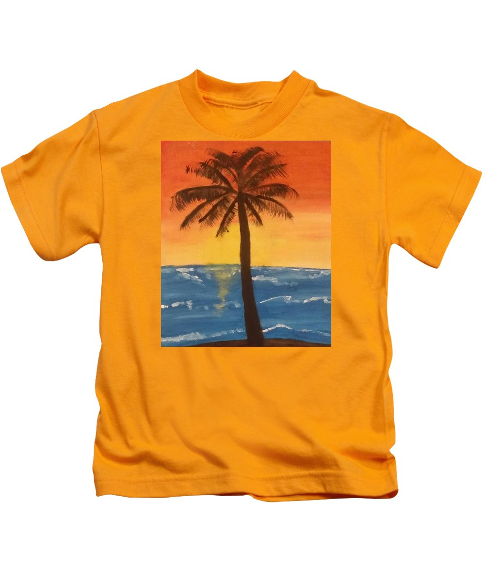 Water Kids T-Shirt featuring the painting Sunset by Shelby Heck