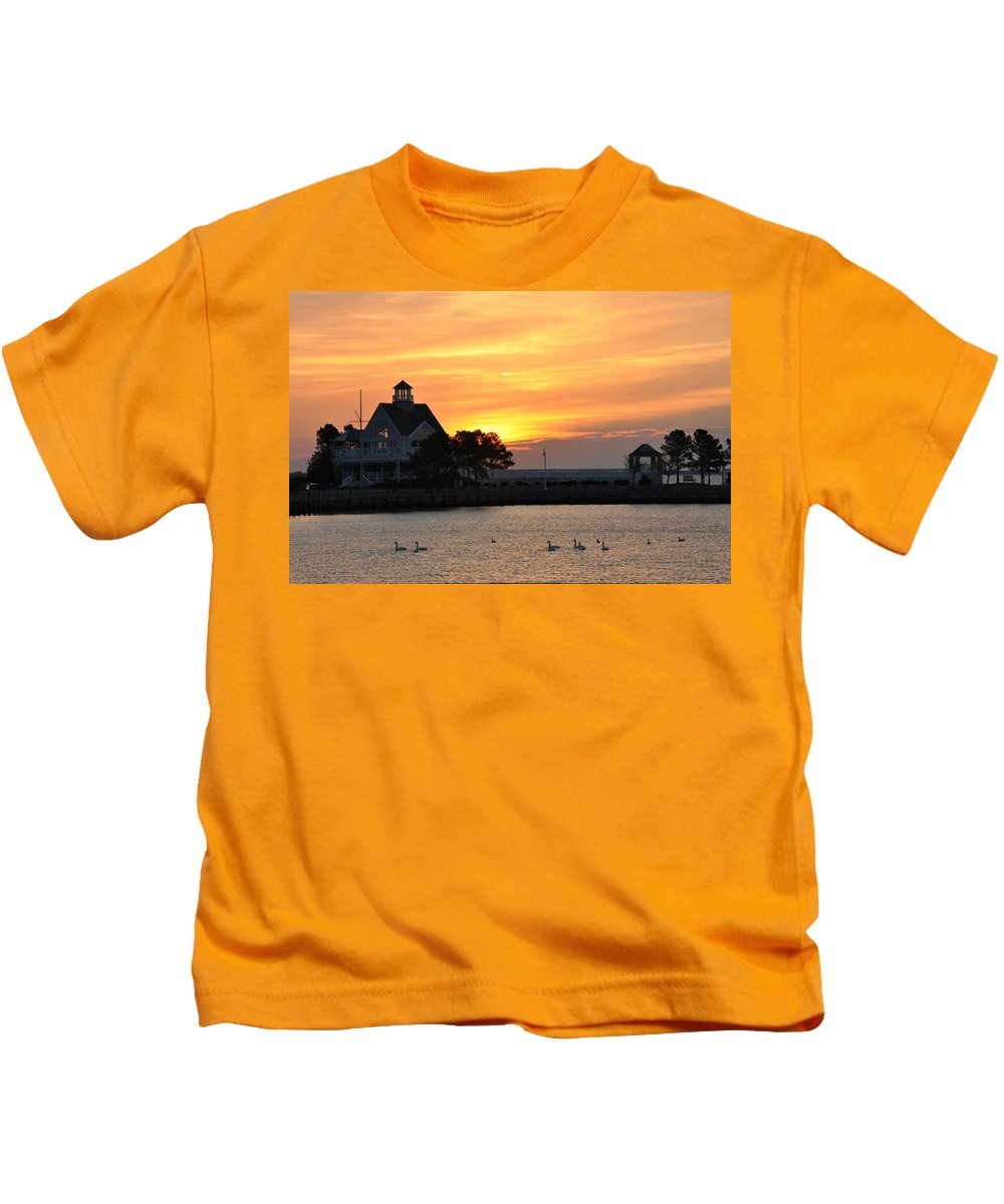 Swan Kids T-Shirt featuring the photograph Swans At Sunrise by Bill Cannon
