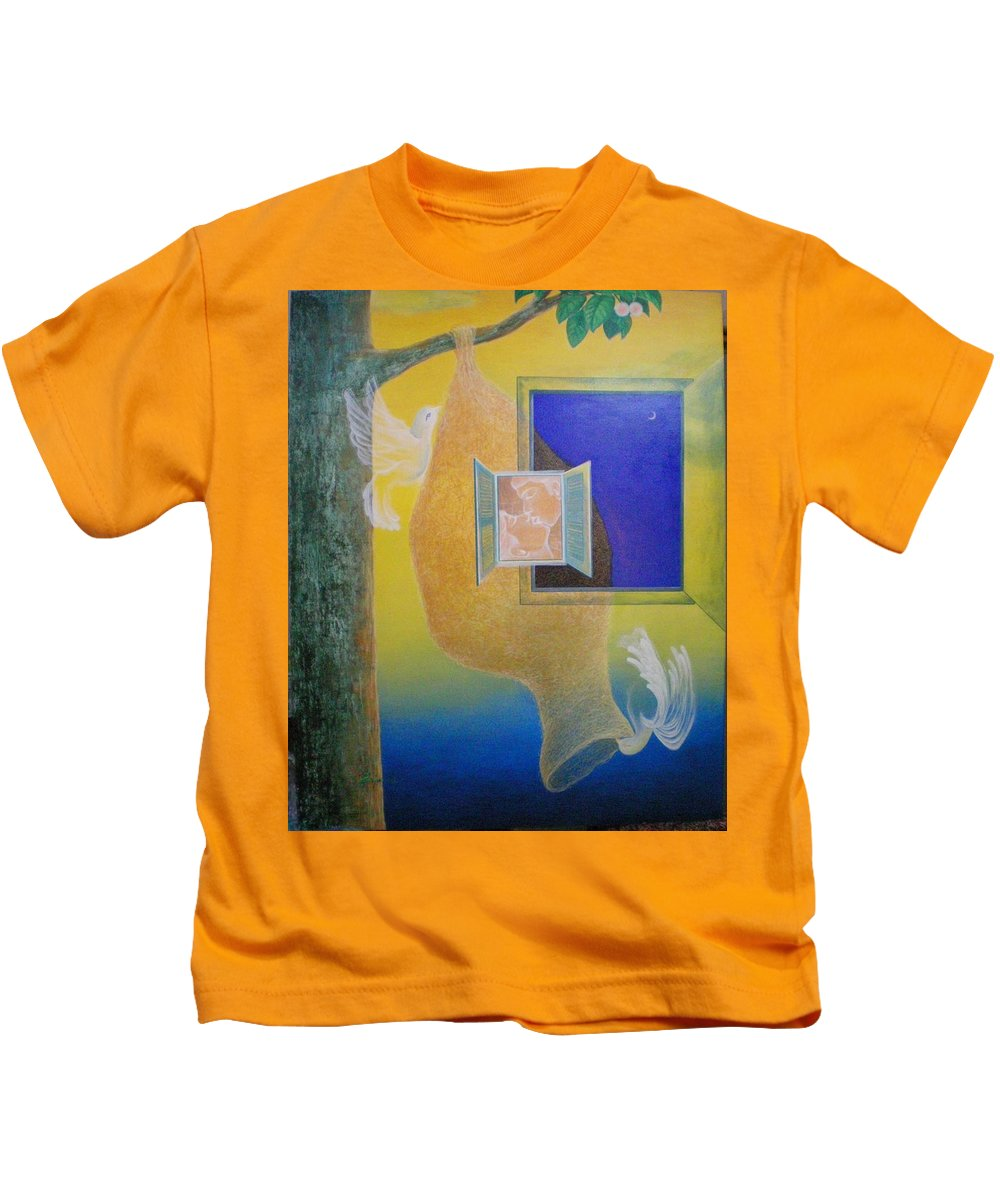 Romantic Kids T-Shirt featuring the painting Sweet Home by Raju Bose