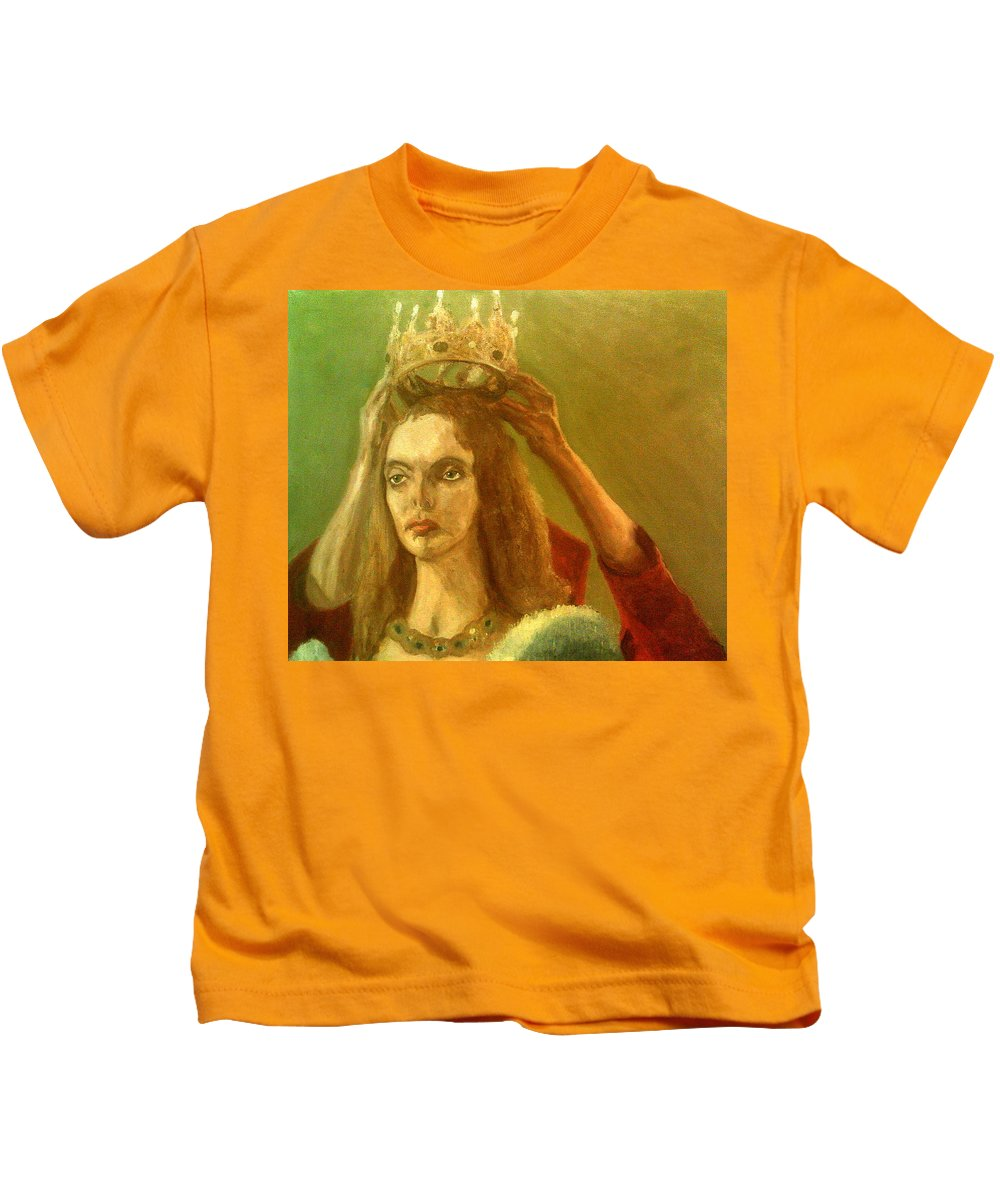 Crown Taking Off Queen Elisabeth The White Princess Jodie Comer Jewels Necklace Sour Expression Not Happy Kids T-Shirt featuring the painting Taking Off The Crown by Peter Gartner