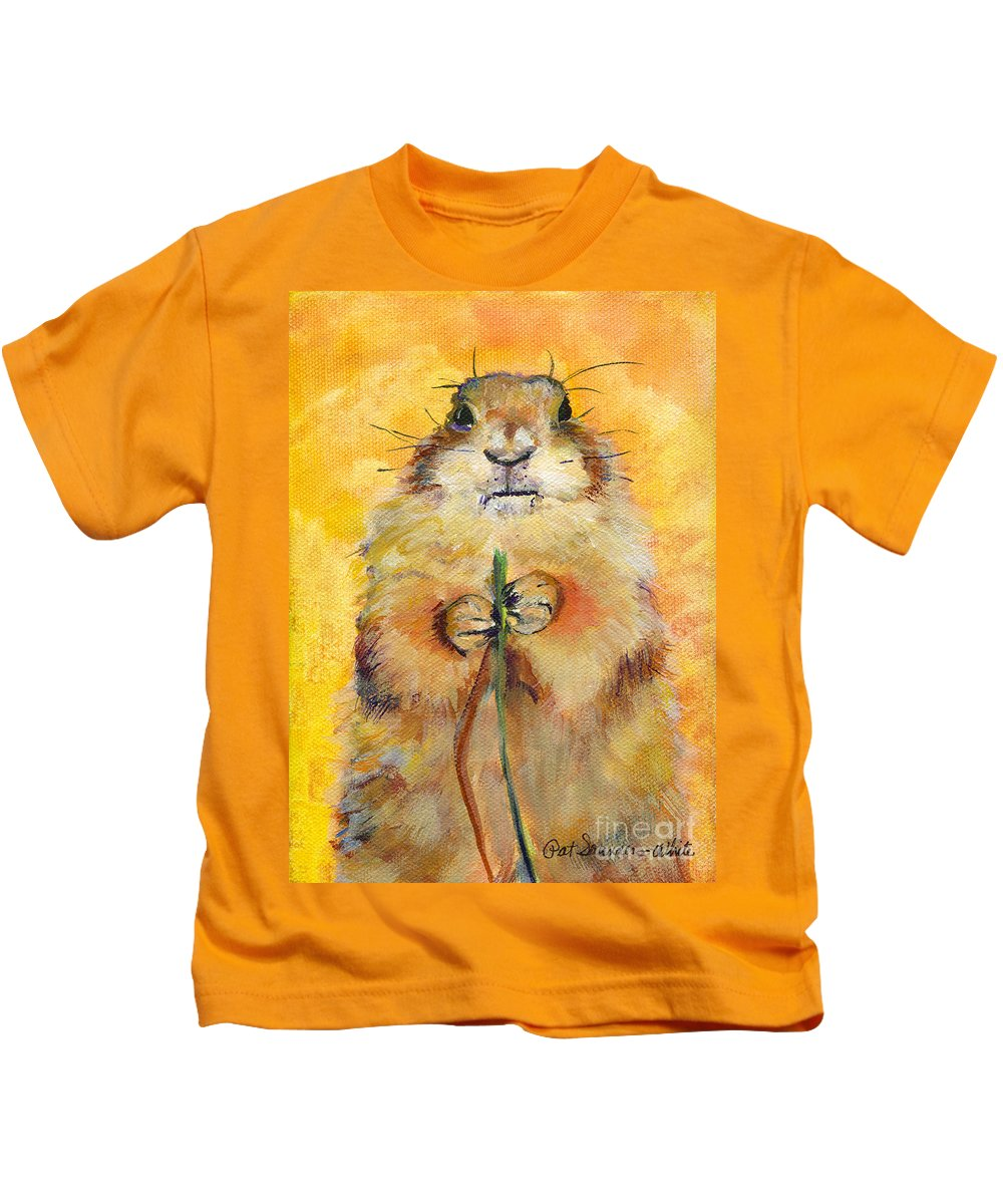 Prairie Dog Painting Kids T-Shirt featuring the painting Target by Pat Saunders-White