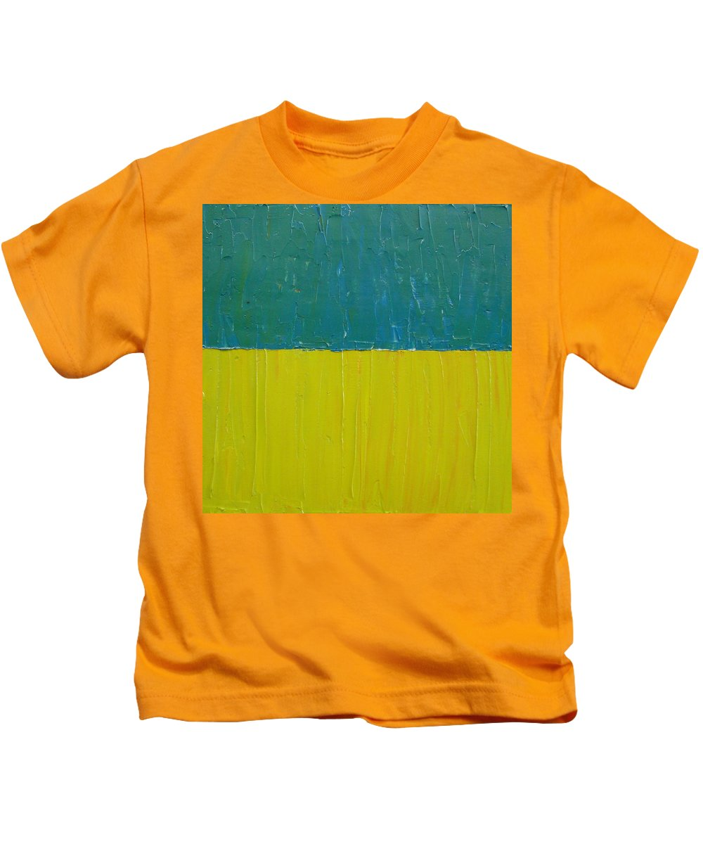 Paint Kids T-Shirt featuring the painting Teal Olive by Michelle Calkins