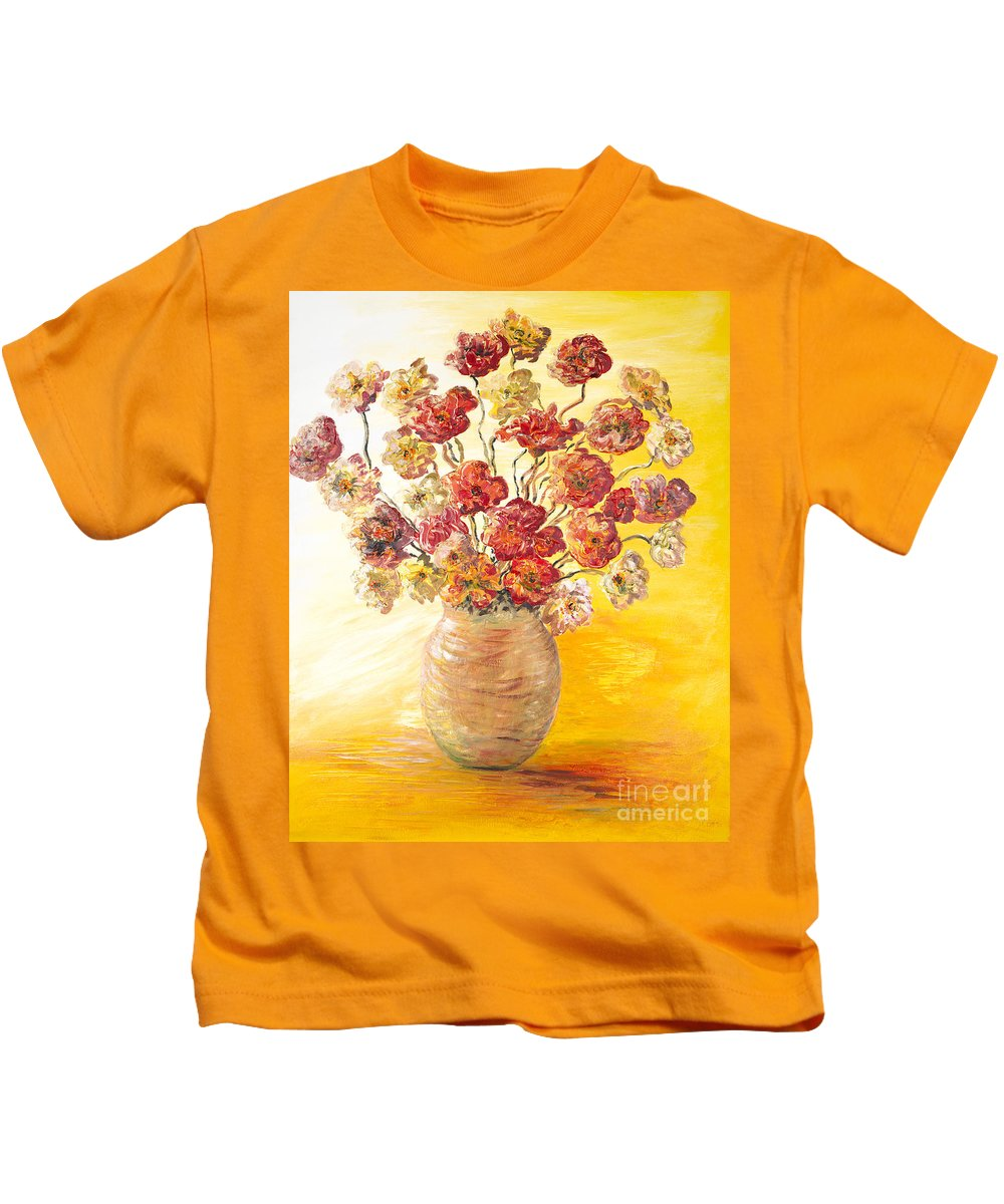 Flowers Kids T-Shirt featuring the painting Textured Flowers In A Vase by Nadine Rippelmeyer