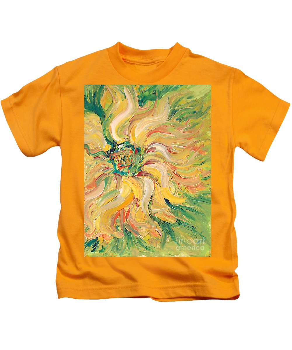 Texture Kids T-Shirt featuring the painting Textured Green Sunflower by Nadine Rippelmeyer