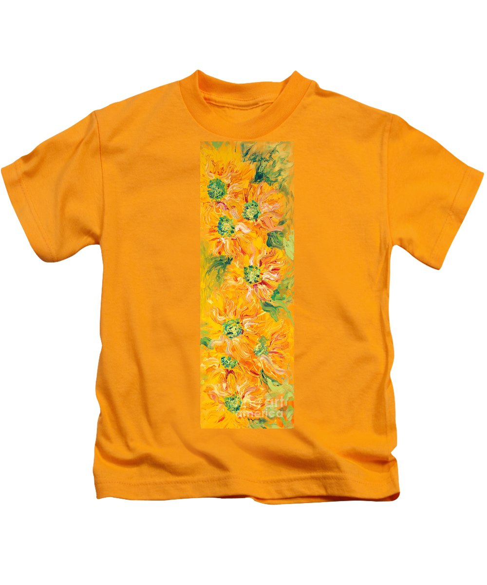 Yellow Kids T-Shirt featuring the painting Textured Yellow Sunflowers by Nadine Rippelmeyer