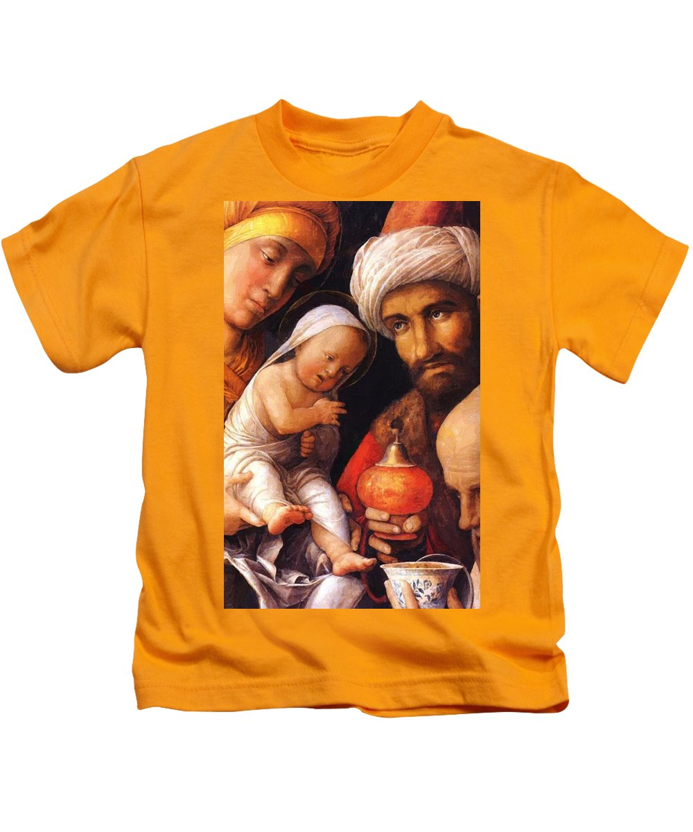 The Kids T-Shirt featuring the painting The Adoration Of The Magi by Mantegna Andrea